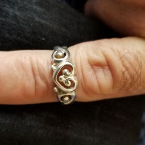 Vintage 925 Sterling Silver Heart Scroll Ring